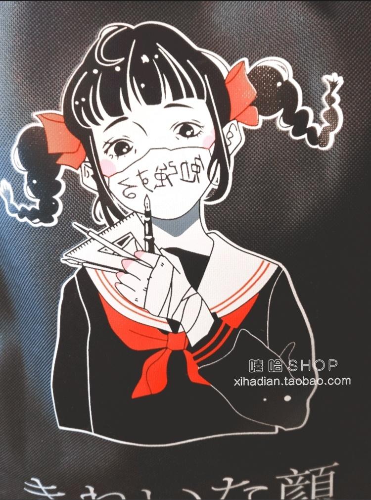 日系ulzzang暗黑少女原宿口罩女孩个性双肩包休闲印花背包