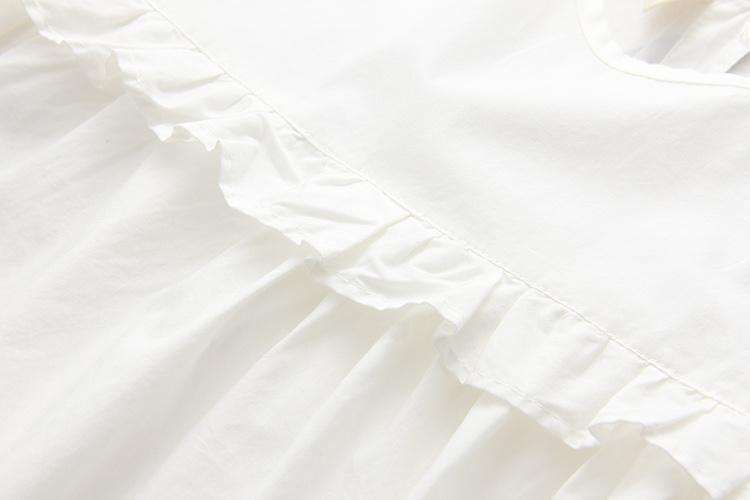 日系新款童趣可爱小人中长款白色短袖娃娃衫衬衫女