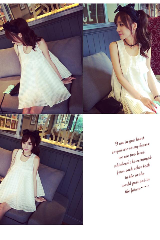 2016新款时尚韩版夏装甜美可爱格子网纱娃娃衫上衣新品女潮
