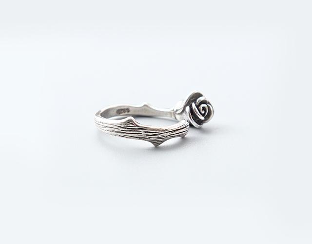 纯银复古带刺玫瑰韩版戒指
