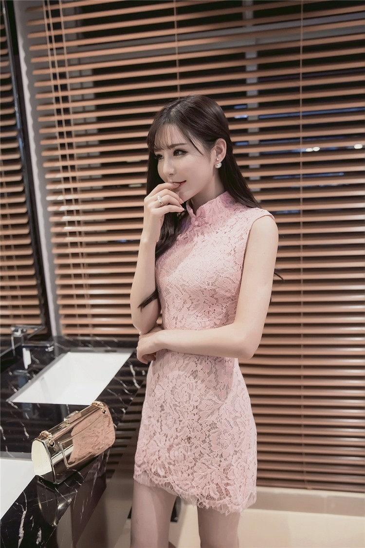 蕾丝立领旗袍连衣裙