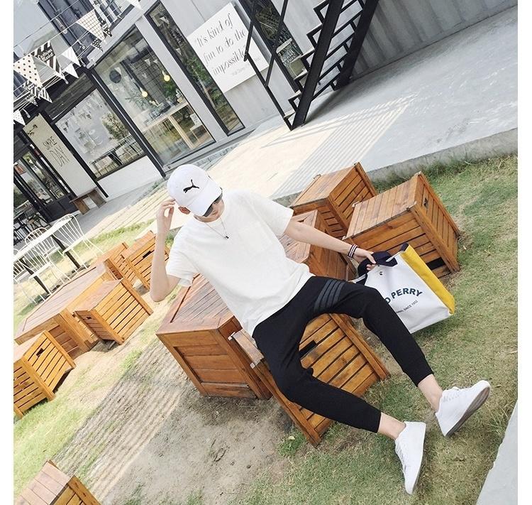 【衣舍】时尚韩版织带拼接设计男生黑色束腿小脚休闲裤九分裤