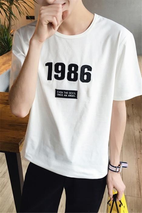 学院风男士数字1986印花男士短袖t恤