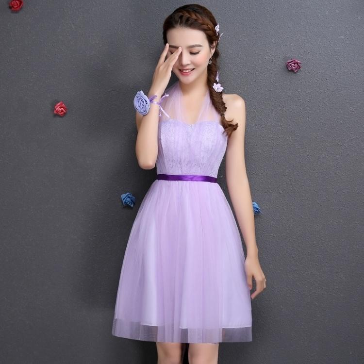【新款伴娘礼服春紫色短款伴娘服姐妹裙结婚晚礼服团