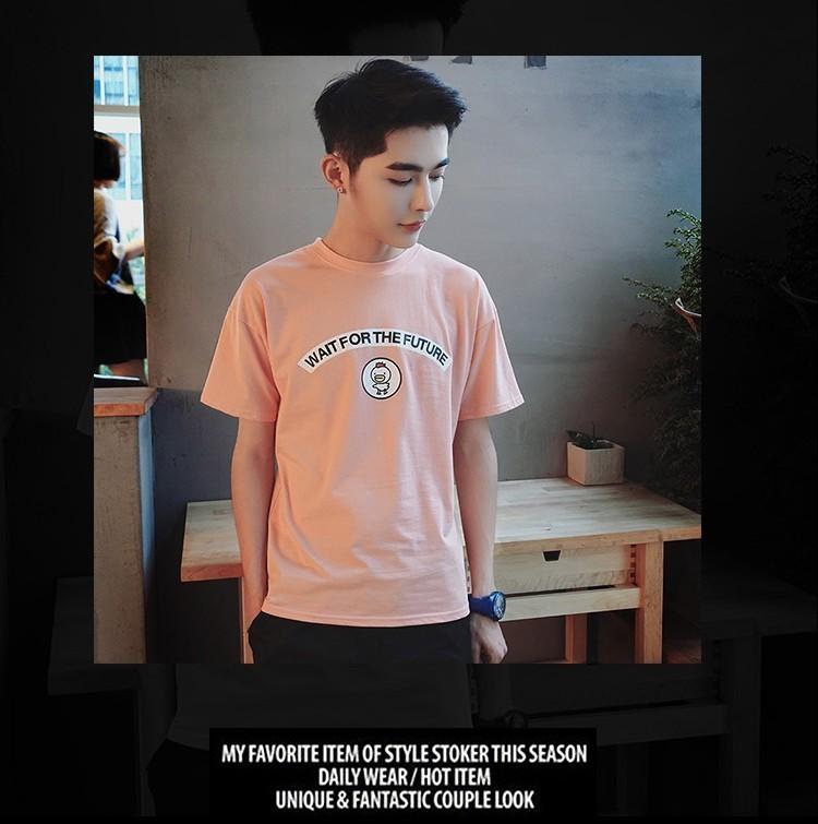 港仔风小鸡字母印花设计小清新青年学生男士短袖t恤潮
