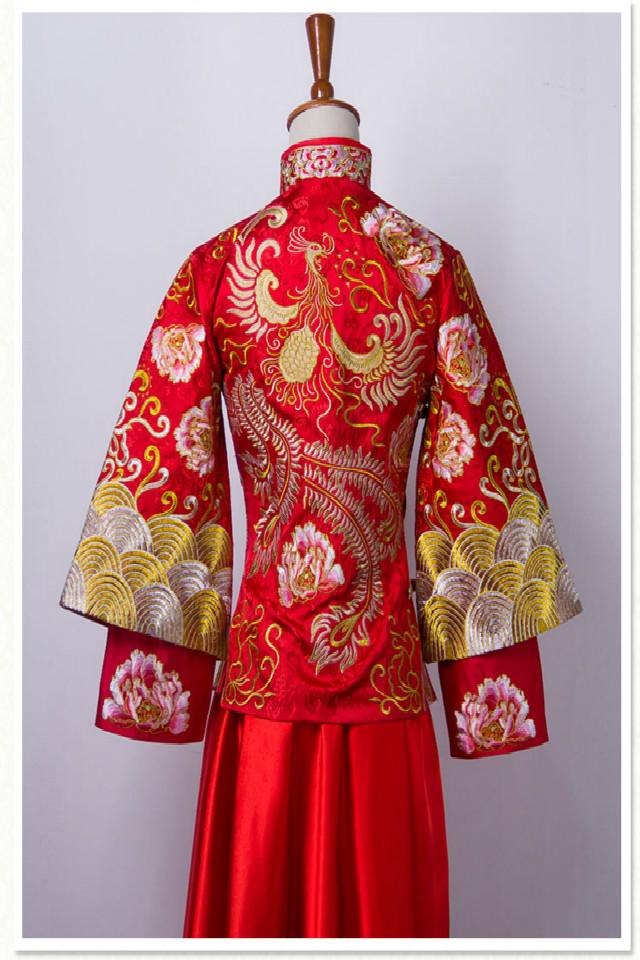新款angelababy明星同款秀禾服中式新娘旗袍龙凤褂图片