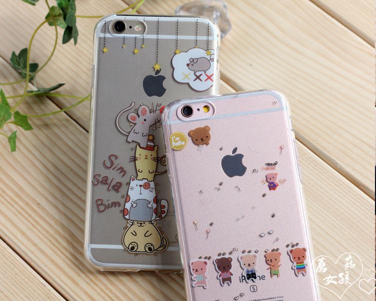 苹果6s iphone6s plus 可爱透明内镶钻手机壳