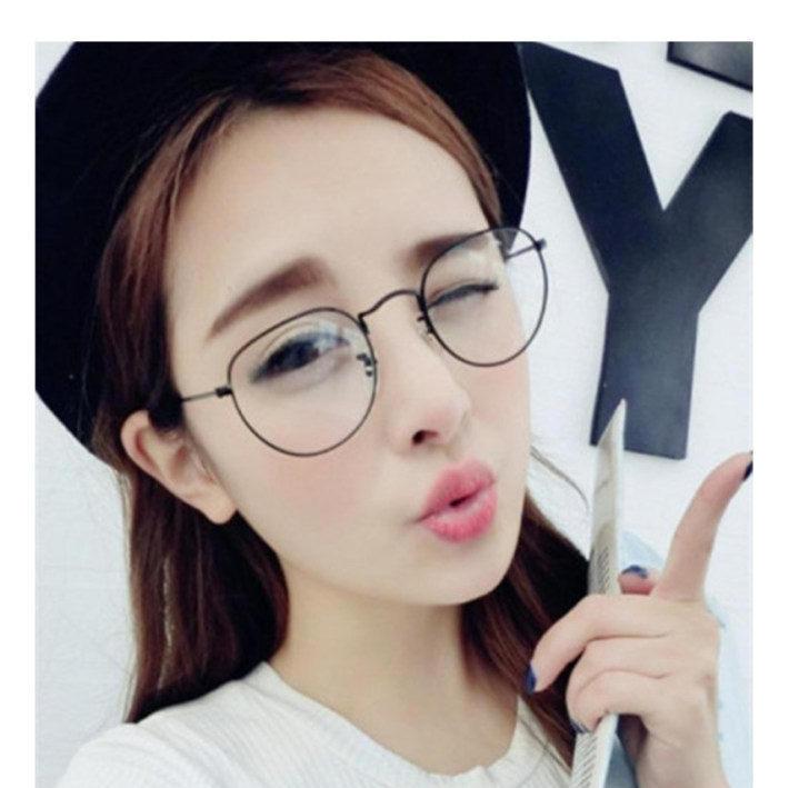 韩国官网同款金属细边框圆形眼镜框近视女