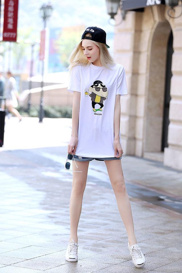 南岛风 2016新款欧美加大码女装夏装显瘦短袖蜡笔小新t恤女