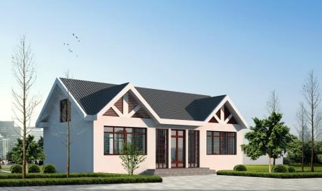 一层复式带阁楼平房效果图全套别墅设计图农村自建房设计图纸