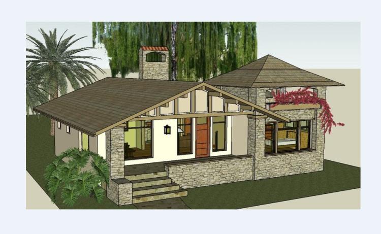 一层半带阁楼小别墅1全套结构设计图纸配效果图