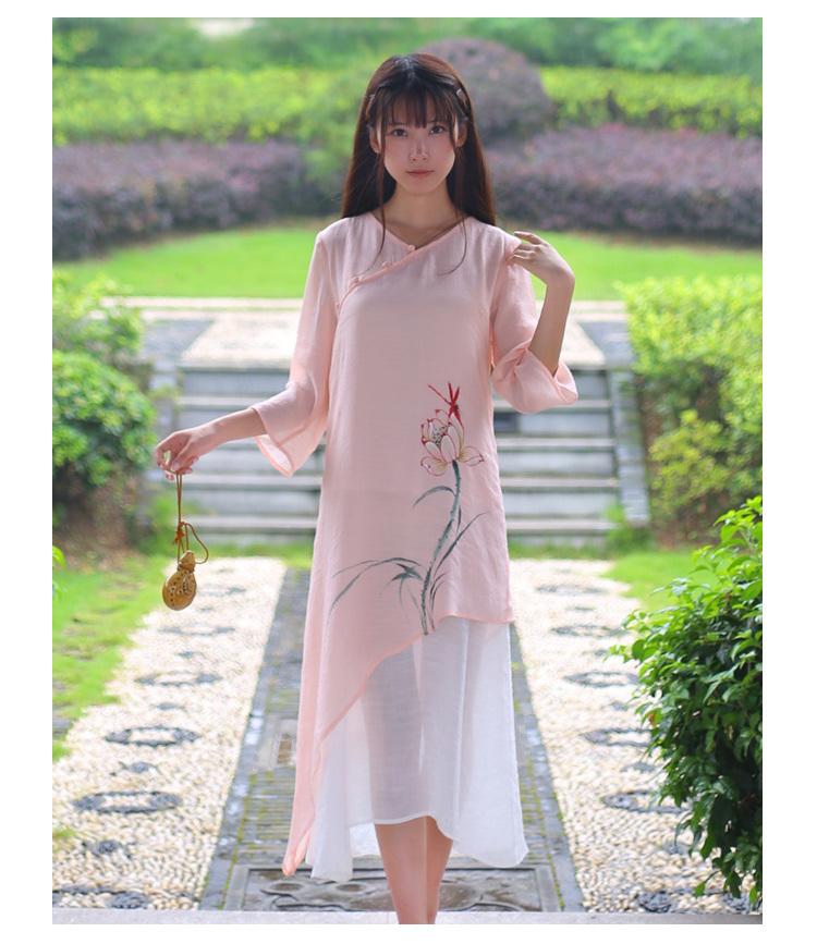 原创手绘汉服元素改良旗袍连衣裙