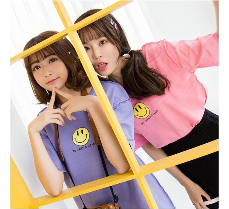 韩系显瘦气质闺蜜姐妹装卡通笑脸印花上衣打底衫t恤