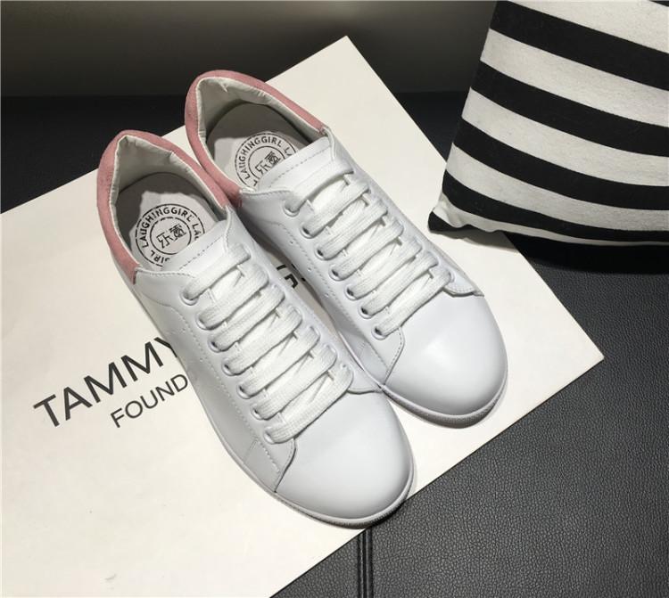 真皮彩虹鞋带清新休闲平底小白鞋图片
