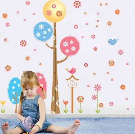 幼儿园装饰墙贴 儿童房间卧室贴画 卡通树身高贴