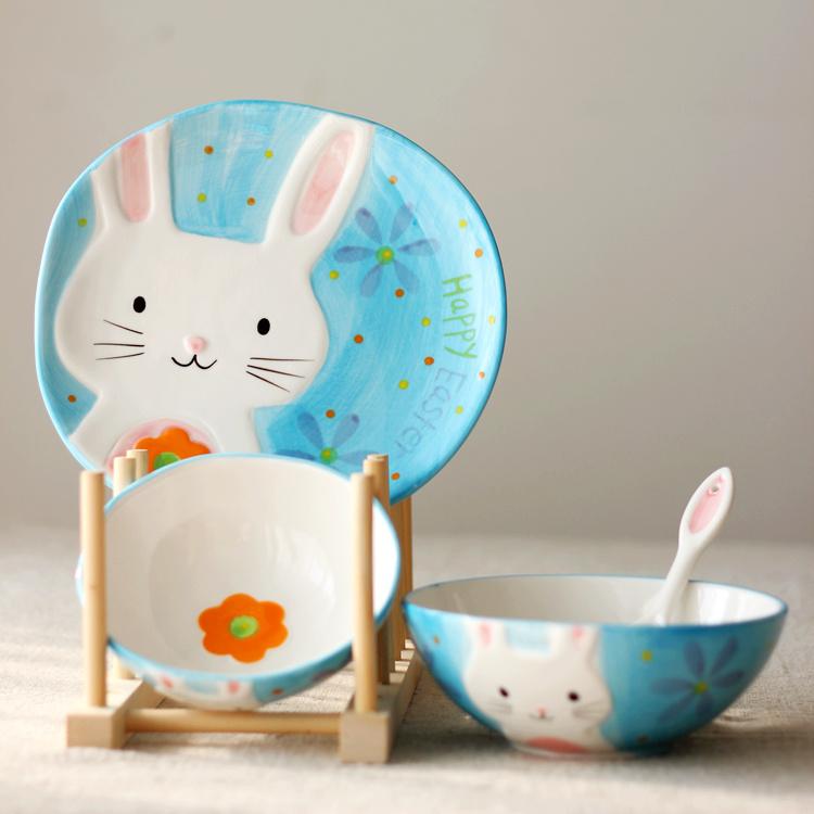 纯手绘动物碗组合装(创意日式浮雕陶瓷碗碟 动物儿童套装餐具)
