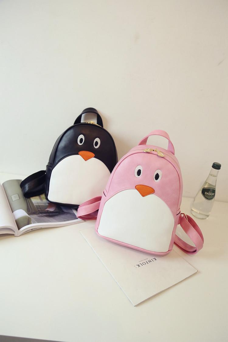 萌萌哒小企鹅休闲印花拼接韩版简约新款双肩包