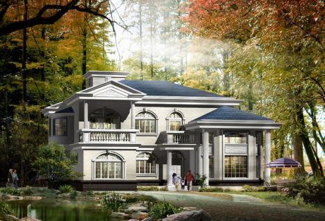 【带阁楼复式二层别墅图纸设计方案农村自建房效果图