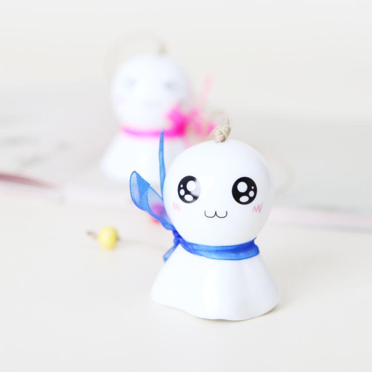 可爱 蝴蝶结 迷你q版晴天娃娃 陶瓷风铃