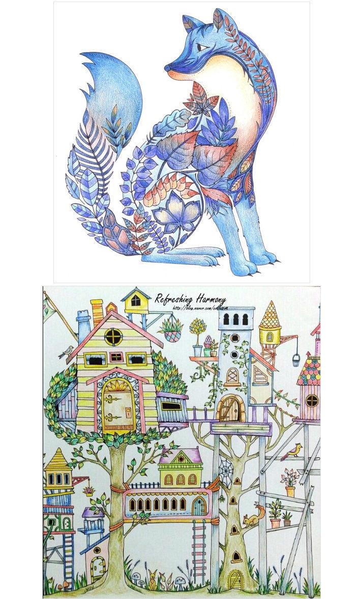 【买一送三】奇幻梦境 秘密花园 魔法森林 正版手绘填色本