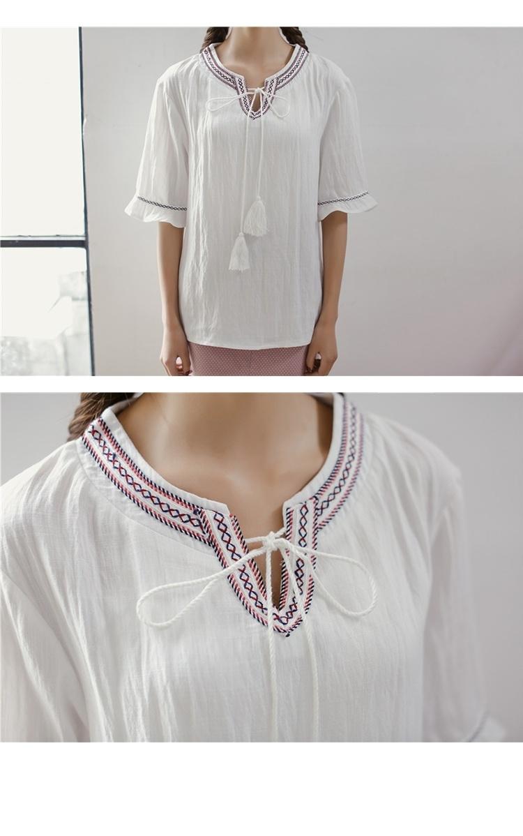 【夏季新款民族风波西米亚刺绣花边荷叶袖系带衬衫女