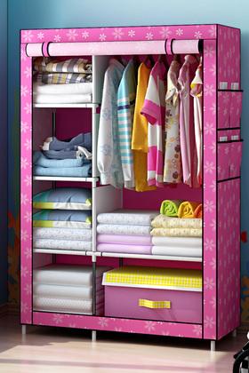 简易布衣柜单人加厚加固钢架组装宜家收纳布艺衣柜