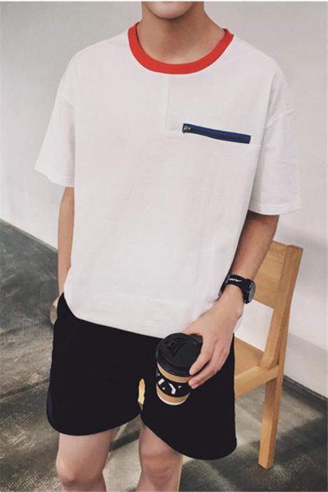 【花臂男票】2016夏季新品韩版男士圆领拼色胸前拉链装饰t恤