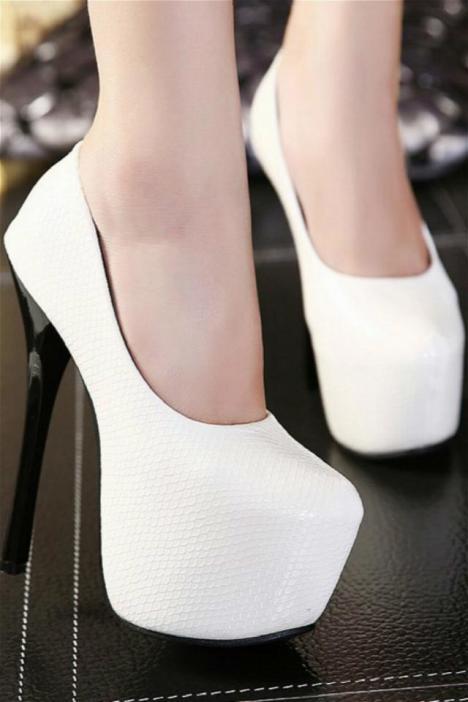 恨天高16厘米欧美范感蛇纹纯色细跟优雅高跟鞋