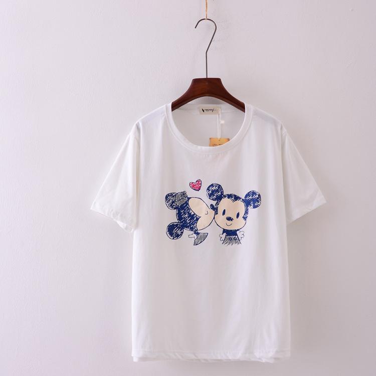 韩版奥代尔棉铅笔画手绘卡通短袖t恤衫