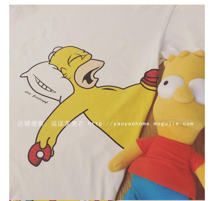 可爱卡通睡觉中的辛普森短袖女神t恤衣服服饰鞋