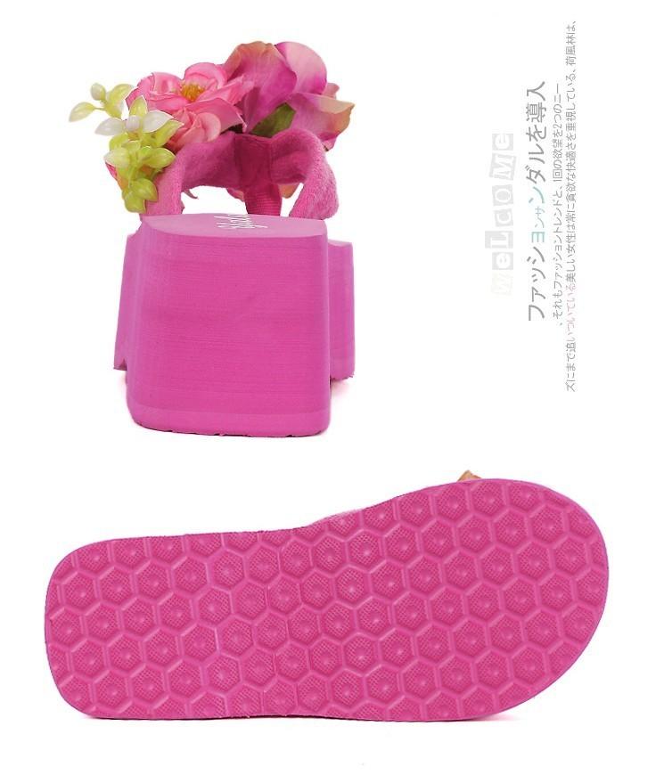 超美玫瑰花朵厚底坡跟夹脚凉拖鞋