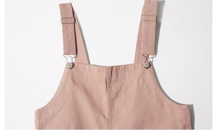 韩版超萌粉色背带裤口袋装饰哈伦小脚九分牛仔连体裤