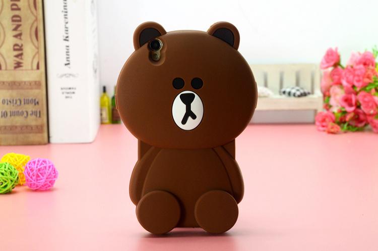 新款布朗熊可爱立体oppor1c/r8207手机壳
