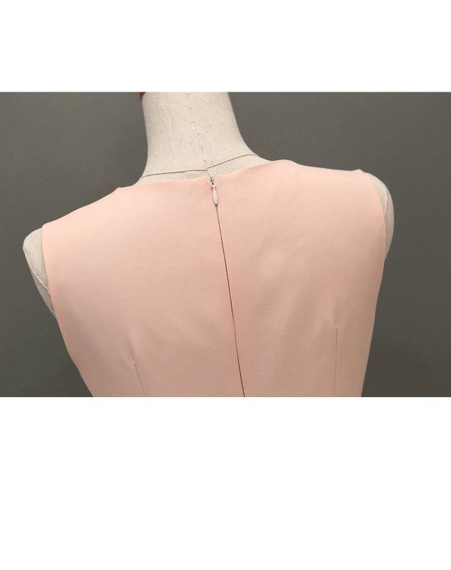 杨颖baby高圆圆明星同款德芙广告圆领韩版粉色连衣裙