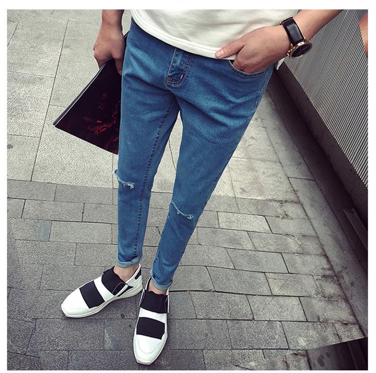 【韩版破洞潮男小脚修身牛仔裤】-男装-牛仔裤