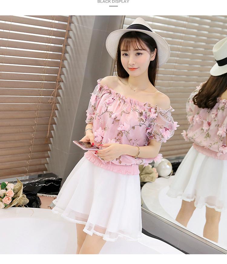 【欧根纱立体花朵套装裙(套装)】-衣服-服饰鞋包