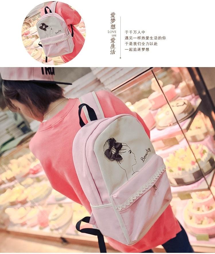 【日系森女小清新简笔画蕾丝边双肩包】-衣服-双肩包