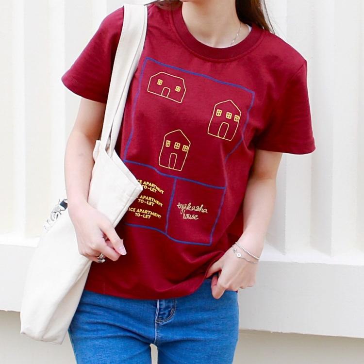 小清新夏季新款小房子印花简单款全棉短袖t恤