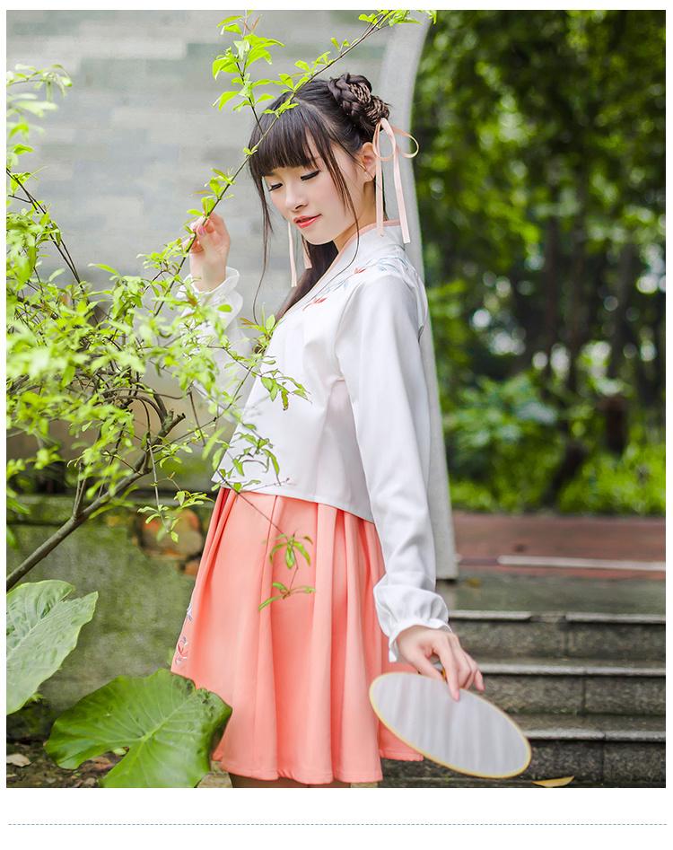 复古中国风改良汉服绣花上衣+刺绣裙子套装