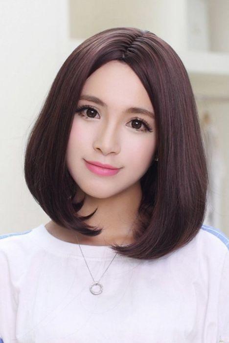 韩国高温丝中分大头皮修脸短发假发 斜刘海女短发全头套假发