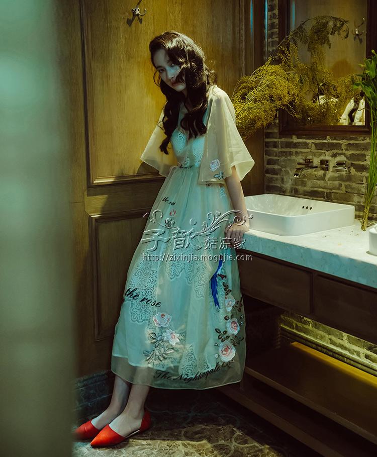 【子歆家 复古欧式宫廷刺绣喇叭袖连衣裙】-衣服-裙子