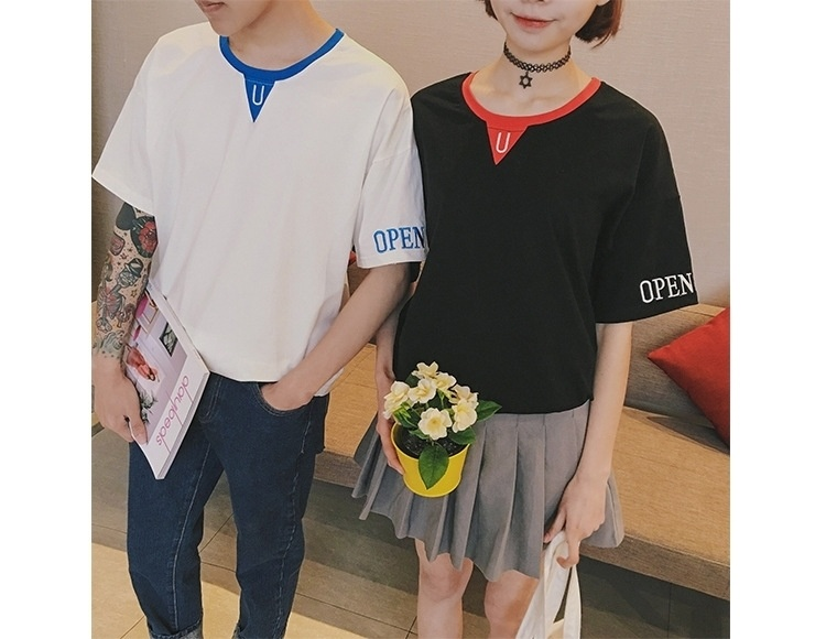 2016夏装情侣装百搭宽松韩国潮学生简约短袖文艺班服t恤