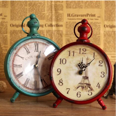 【普润复古铁艺挂钟欧式客厅卧室装饰品静音时钟表