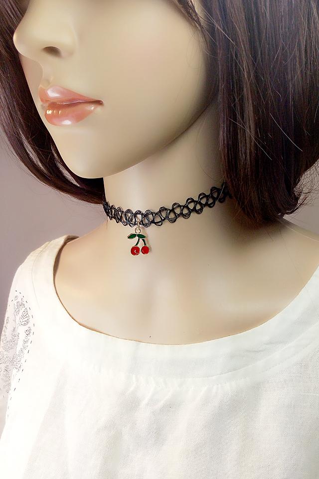 韩版休闲黑色纹身撘樱桃项链(三件套)