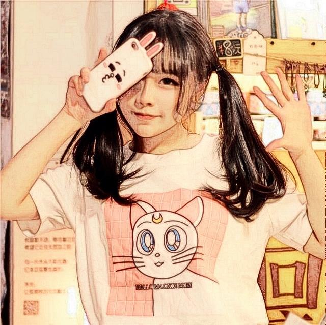 【韩国ulzzang原宿风猫咪字母印花短袖纯棉宽松t恤女