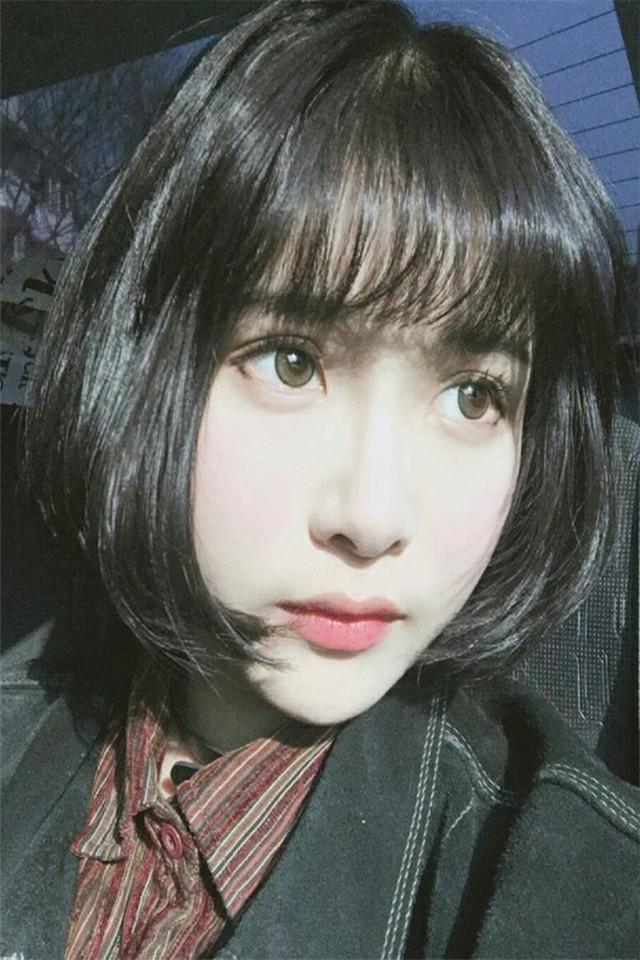 韩国空气刘海短发假发网红同款中长甜美可爱发bobo头整顶假发