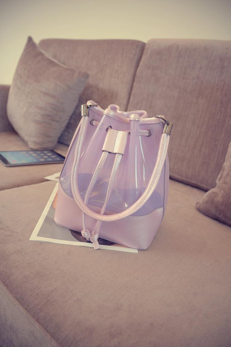 【韩版时尚透明抽绳子母水桶包】-包包-女包