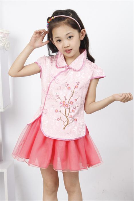 女童夏季复古套裙 儿童新款梅花旗袍裙套装 童装演出服