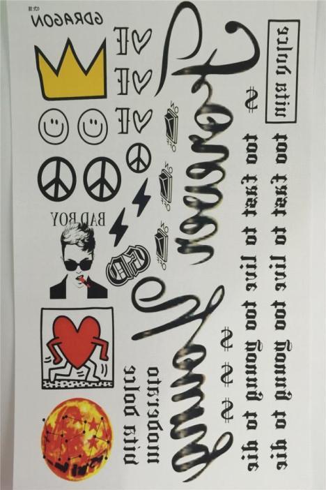 韩国日本原宿创意权志龙笑脸纹身贴皇冠smile防水纹身贴纸图片