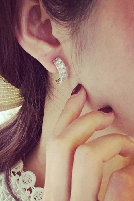月亮水钻,小清新,微镶锆石半圆形,几何耳钉耳环,耳钉耳环耳饰